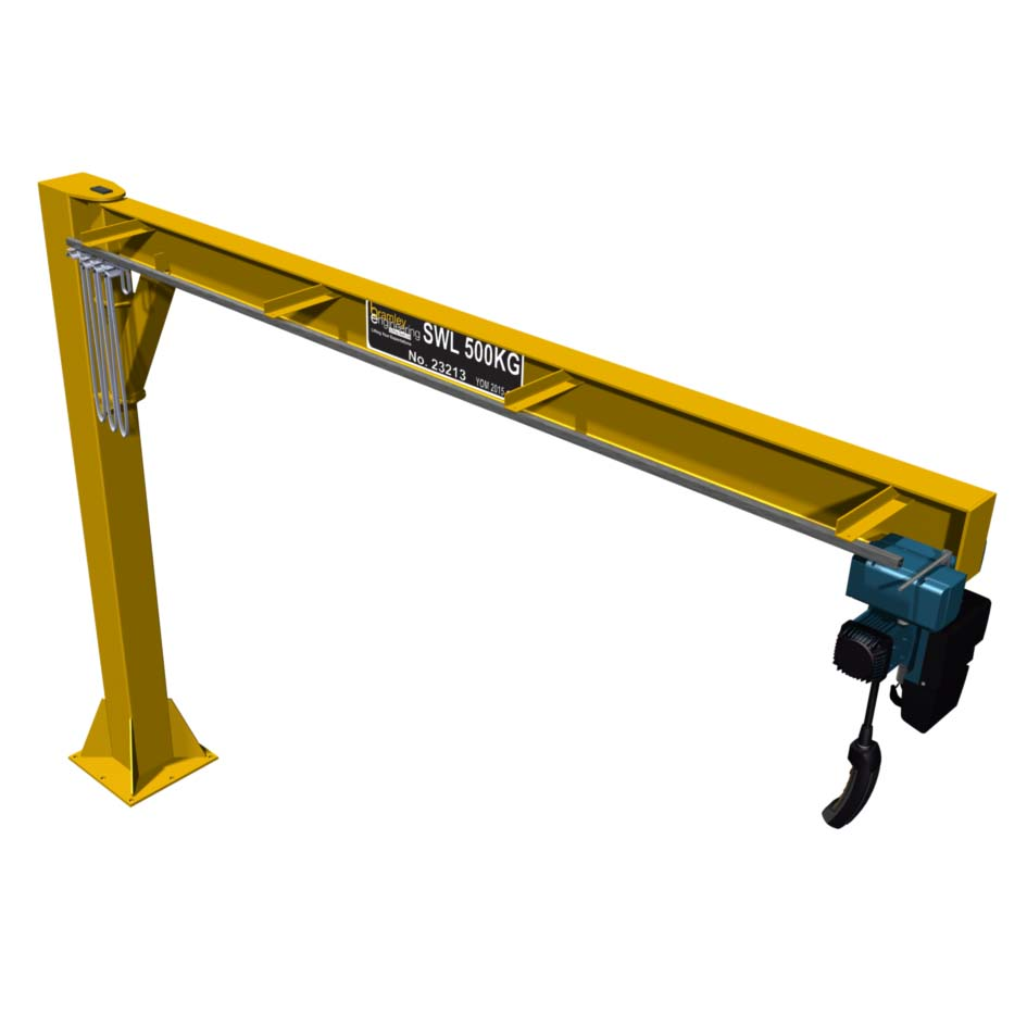 Small Jib Crane : Column mounted jib crane underbraced slew