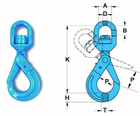 Grade 10 swivel self locking hook